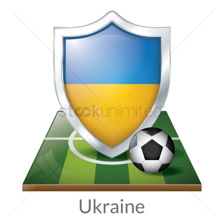 Ukraine : Ukraine flag shield with soccer ball on field