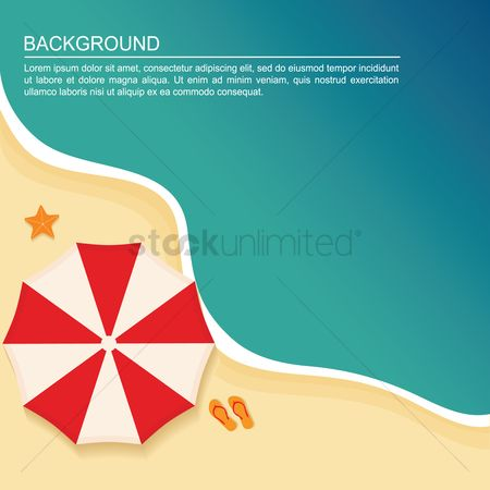 Footwears : Umbrella on beach background