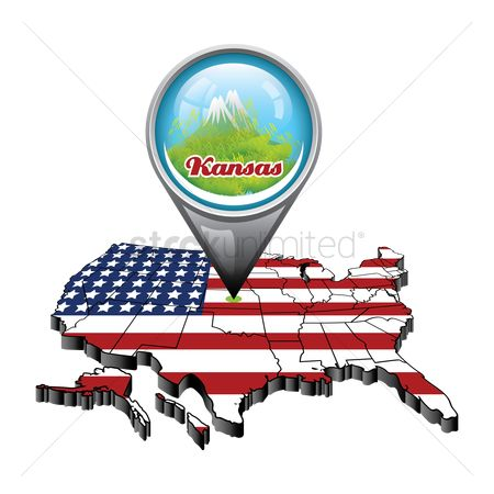 Kansas : Us map with pin showing kansas state
