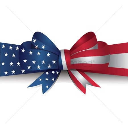 Patriotic : Usa flag ribbon bow
