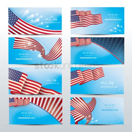 United states : Usa independence day banners collection