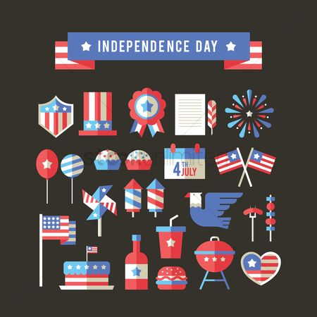 Shield : Usa independence day icons