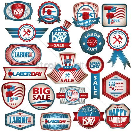 America : Usa labor day labels collection
