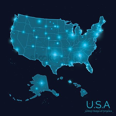 United states : Usa map poster