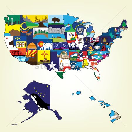 America : Usa map with famous landmark