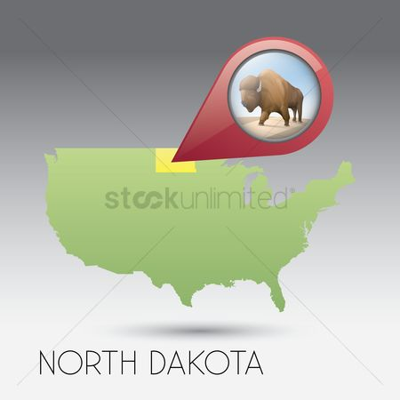 Dakota : Usa map with north dakota