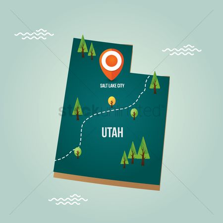 Utah map : Utah map with capital city