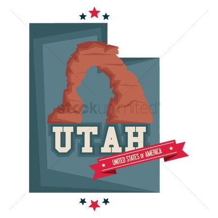 Utah map : Utah map with rock formation utah