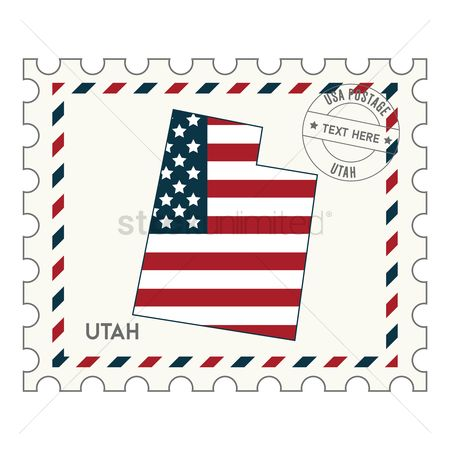 Utah map : Utah postage stamp