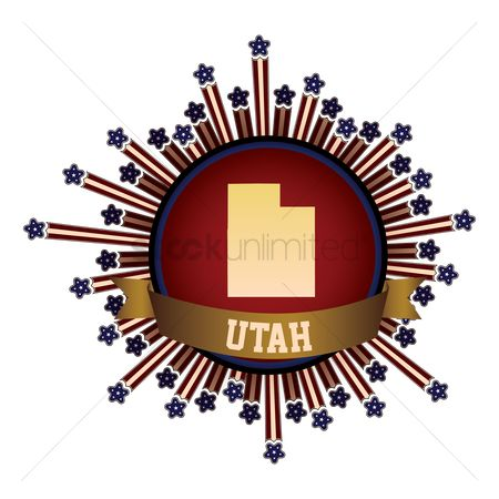 Utah map : Utah state button with banner