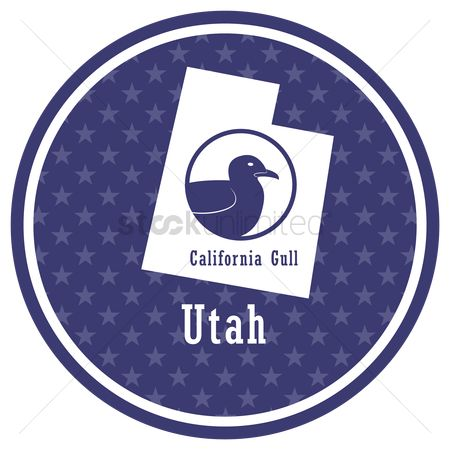 Utah map : Utah state map with california gull