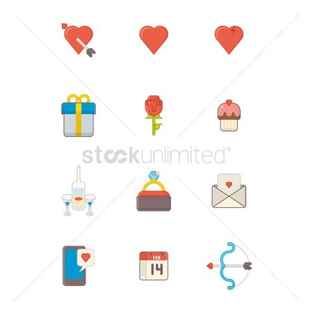 Champagnes : Valentine celebration icons