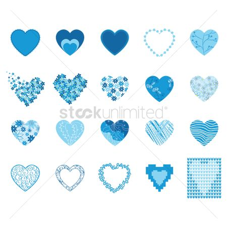 Heart shape : Various frames and patterns of blue hearts