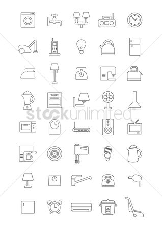 Lighting : Various home appliances and household items
