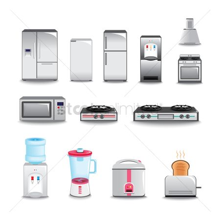 Stove : Various kitchen appliances