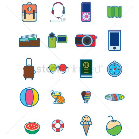 Watermelon : Various vacation and travel icons