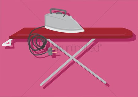 Chores : Vector of electric iron and ironing board