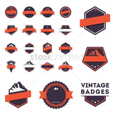 Medal : Vintage badges set