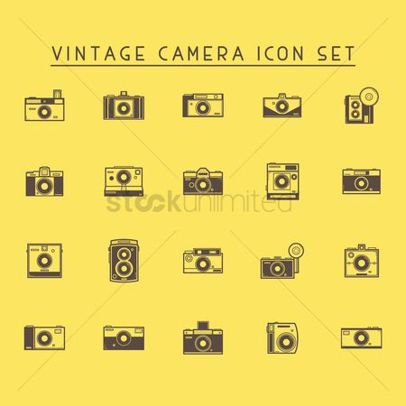 Broadcasting : Vintage camera icon set
