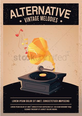 Melody : Vintage record player poster