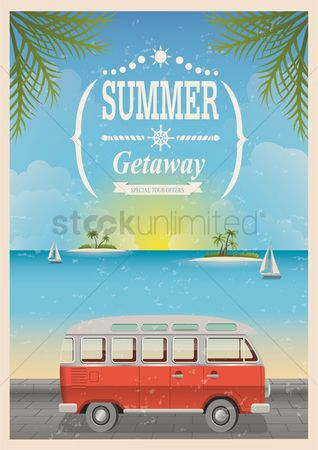 Summer : Vintage seaside poster