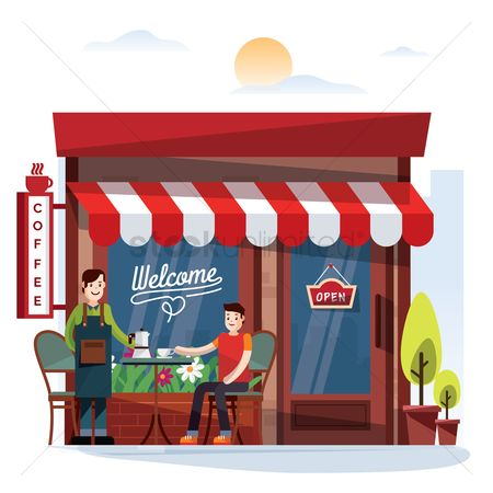 Shops : Waiter and customer outside a cafe