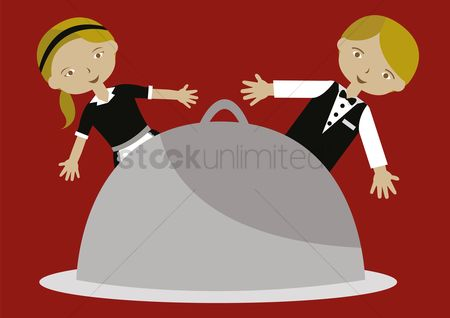 Waitresses : Waiter and waitress with cloche