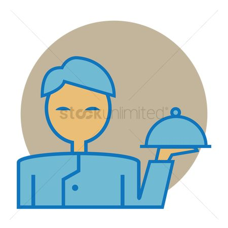 Servings : Waiter holding a cloche