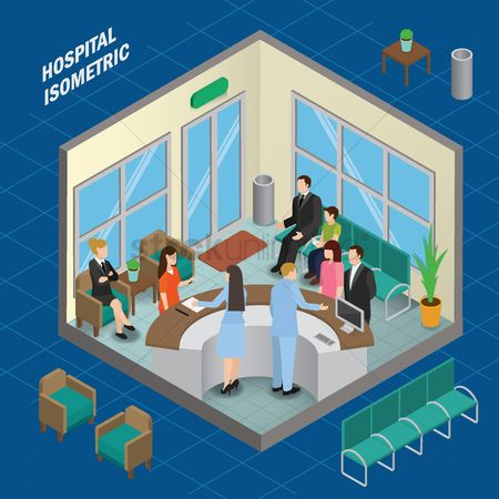 Medical : Waiting room hospital isometric