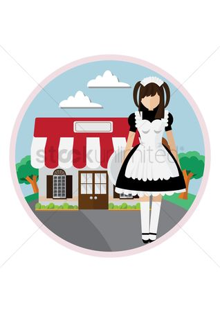 Waitresses : Waitress in front of cafe