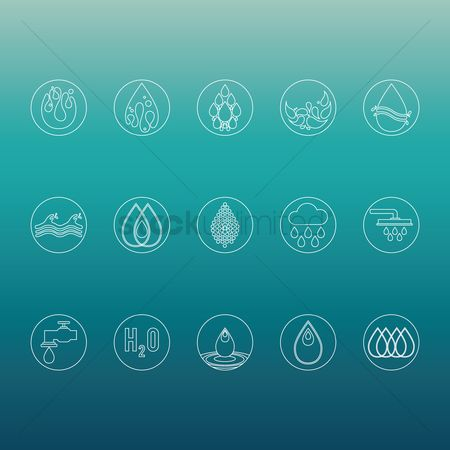 Faucets : Water icons set