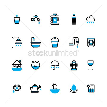 Washing machine : Water related icons set