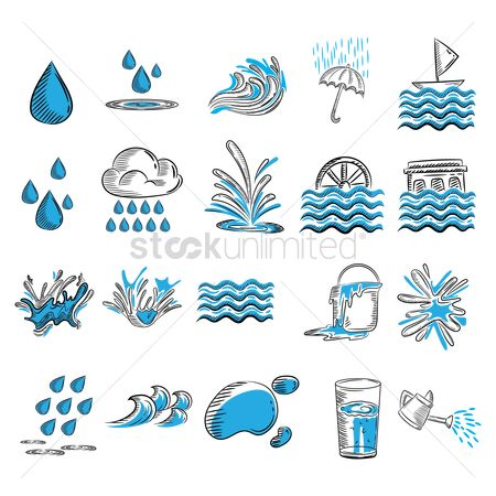 Wheel : Water related icons set