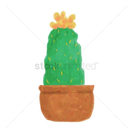 Flower pot : Watercolor cactus