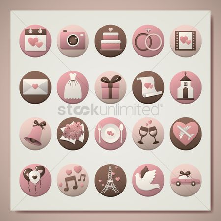 Aeroplanes : Wedding icon set