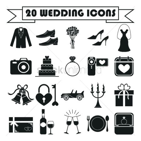 Champagnes : Wedding icons set