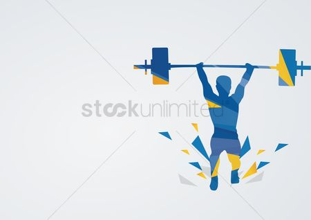 Athletes : Weightlifting in action