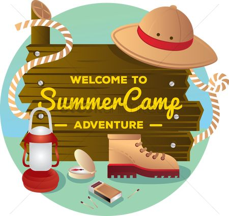 Wooden sign : Welcome to summer camp adventure