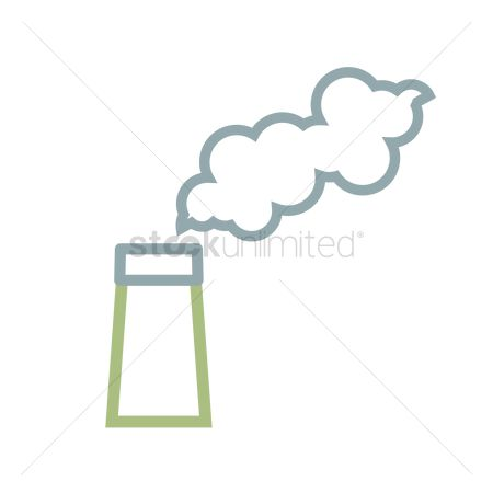 Pollutions : White smoke clouds from chimney