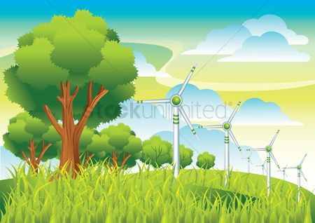 Energy : Wind turbines and trees in a field