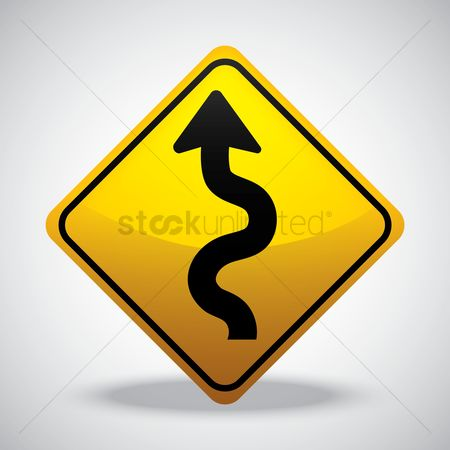 Attention : Winding road left road sign