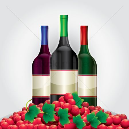 Champagnes : Wine bottles and grapes