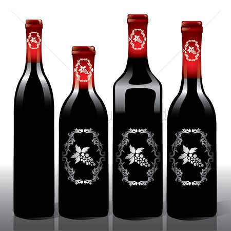 Red wines : Wine bottles