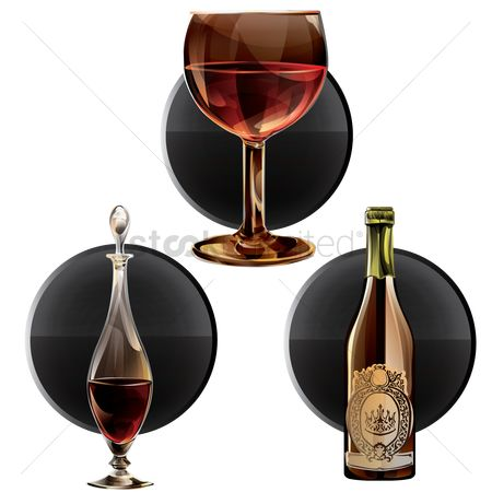 Alcohols : Wine glass and bottle set