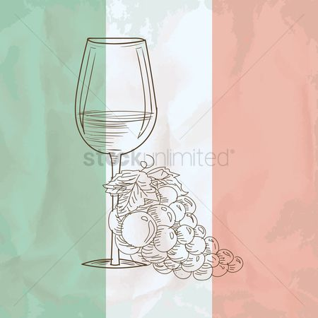 Tricolored : Wine glass with grapes