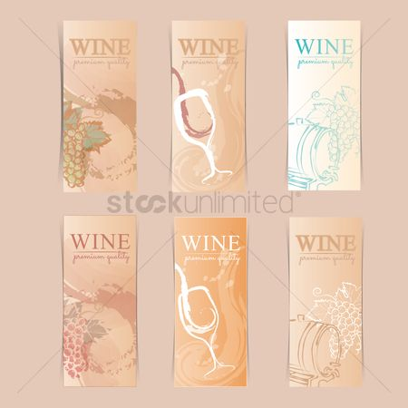 Grapes : Wine labels set