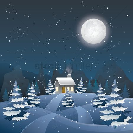 Moon : Winter landscape