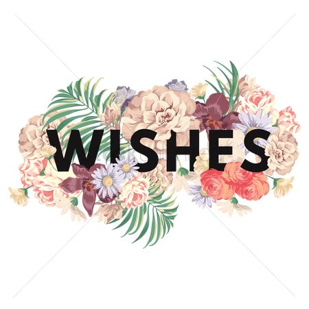 Styles : Wishes text with floral design