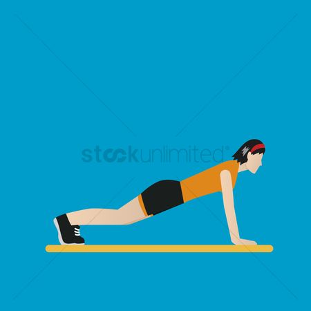 Strength exercise : Woman doing push ups