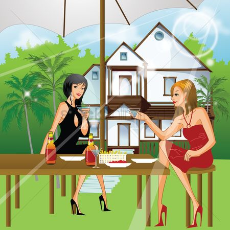 Lifestyle : Woman having drink outdoors